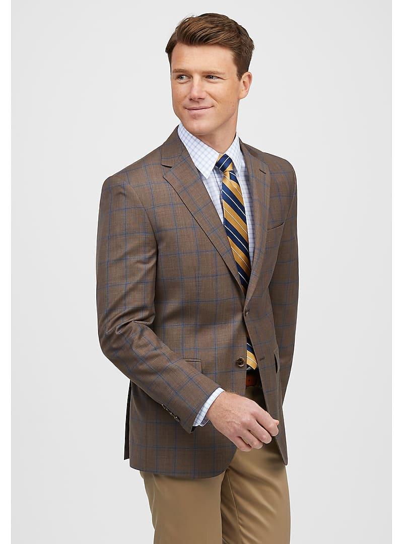 Traveler Collection Tailored Fit Windowpane Plaid Sportcoat