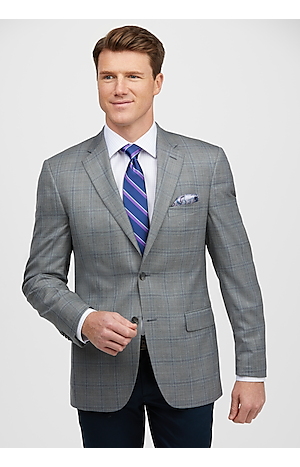 Men's SportCoats, Traveler Collection Traditional Fit Windowpane Sportcoat - Jos A Bank