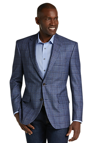 Men's SportCoats, Reserve Collection Traditional Fit Windowpane Sportcoat - Jos A Bank
