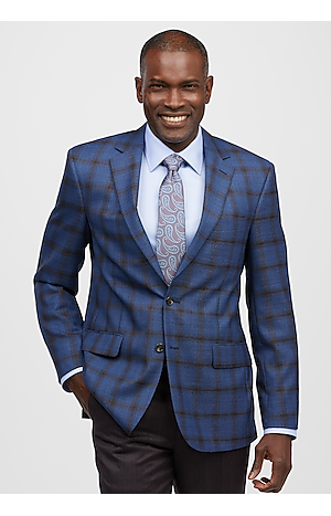 Men's SportCoats, Reserve Collection Tailored Fit Windowpane Plaid Sportcoat - Jos A Bank