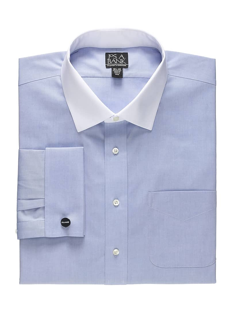 Traveler Collection Tailored Fit Contrast Cuff Dress Shirt