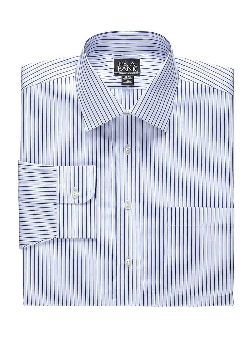 Traveler Collection Traditional Fit Spread Collar Stripe Dress Shirt