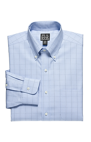 Men's Shirts, Traveler Collection Tailored Fit Button-Down Collar Windowpane Dress Shirt - Jos A Bank