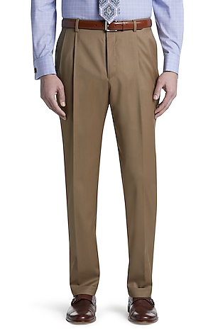Men's Pants, Signature Collection Traditional Fit Pleated Front Pants - Jos A Bank