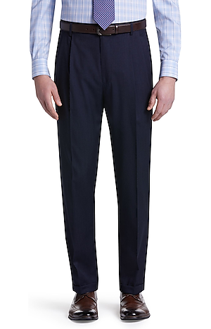 Traveler Collection Traditional Fit Pleated Pants Washable Wool Dress Pants - Big & Tall