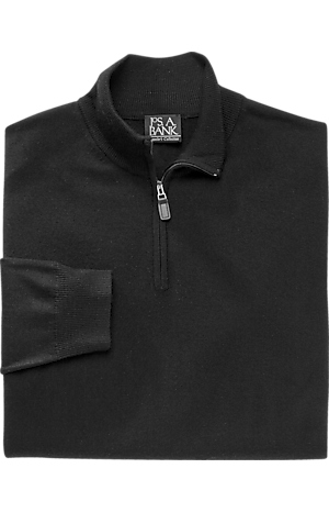 Men's Sweaters, Traveler Collection Merino Wool Quarter Zip Mock-Neck Sweater - Jos A Bank