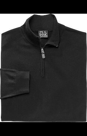 Men's FLYOUT_COLLECTION, Traveler Collection Merino Wool Quarter Zip Mock-Neck Sweater - Big & Tall - Jos A Bank