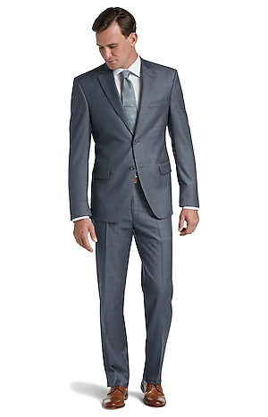 Men's Suits, Traveler Collection Traditional Fit Sharkskin Suit - Jos A Bank