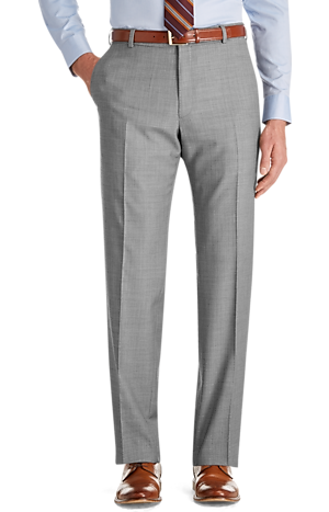 Traveler Slim Fit Flat Front Sharkskin Suit Separate Pants - Big & Tall