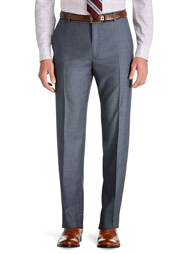 Traveler Slim Fit Flat Front Sharkskin Suit Separate Pants