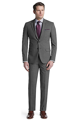 Men's Suits, Travel Tech Slim Fit Mini Check Suit - Jos A Bank