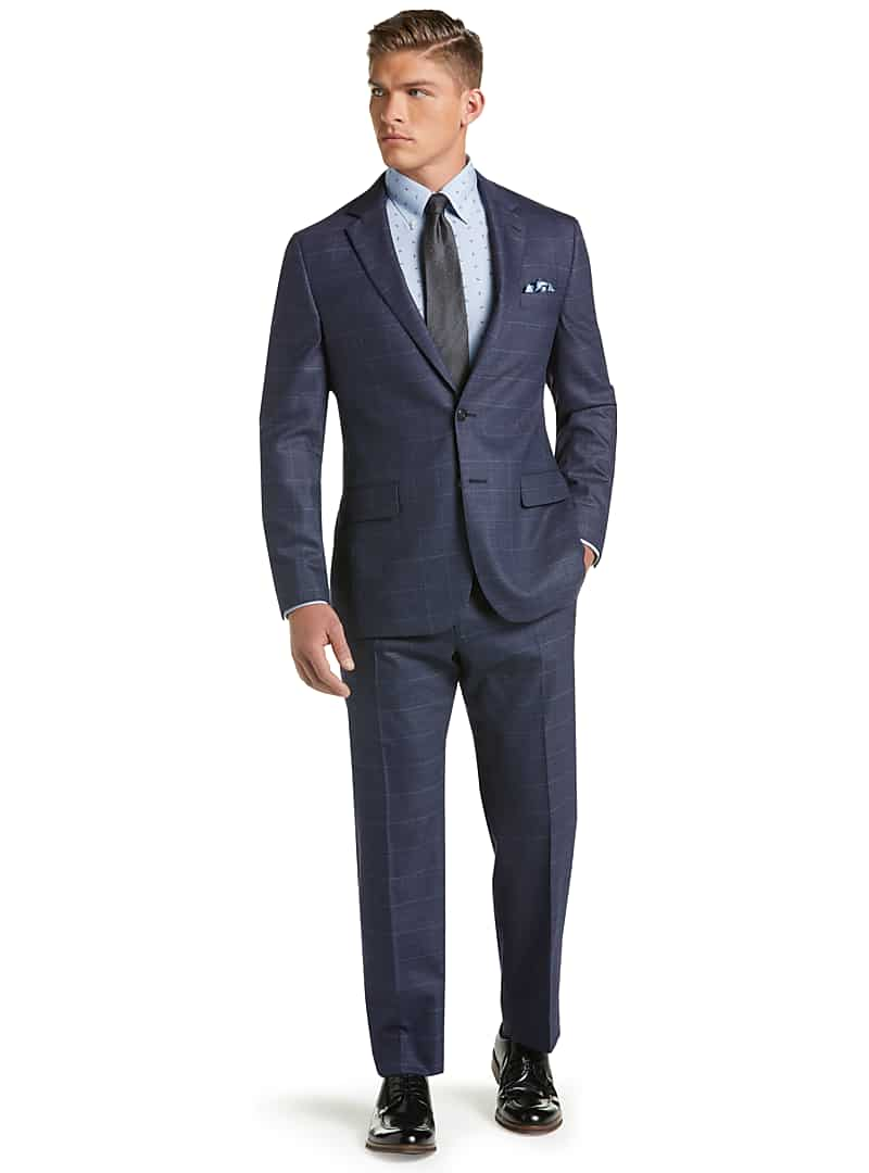 1905 Collection Slim Fit Tic Windowpane Suit