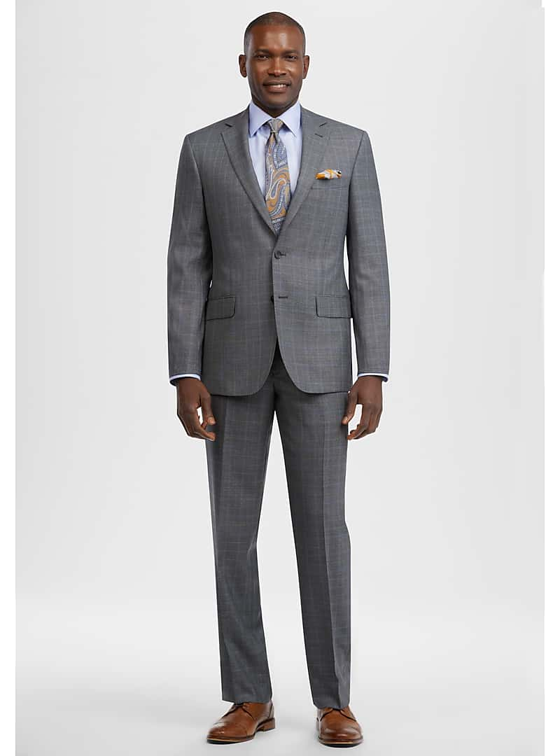 Reserve Collection Tailored Fit Windowpane Plaid Suit