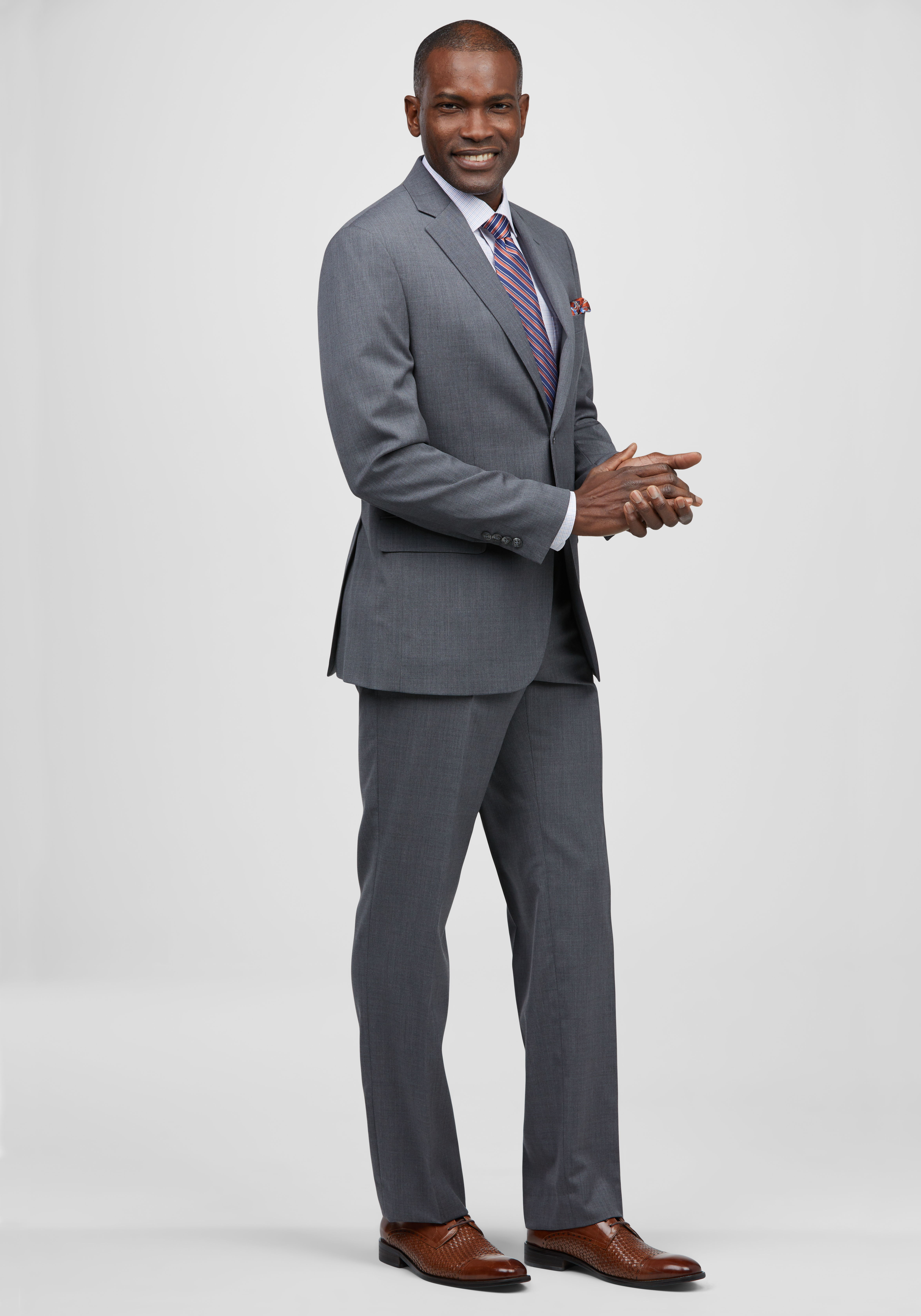 Executive Collection Tailored Fit Tic Windowpane Suit