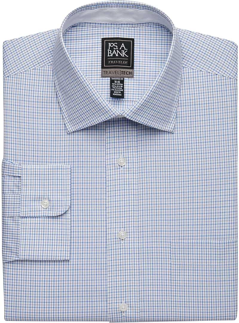 Travel Tech Tailored Fit Spread Collar Check Dress Shirt