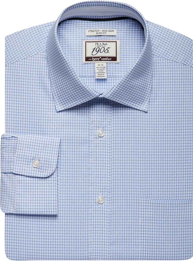 1905 Collection Slim Fit Spread Collar Check Dress Shirt
