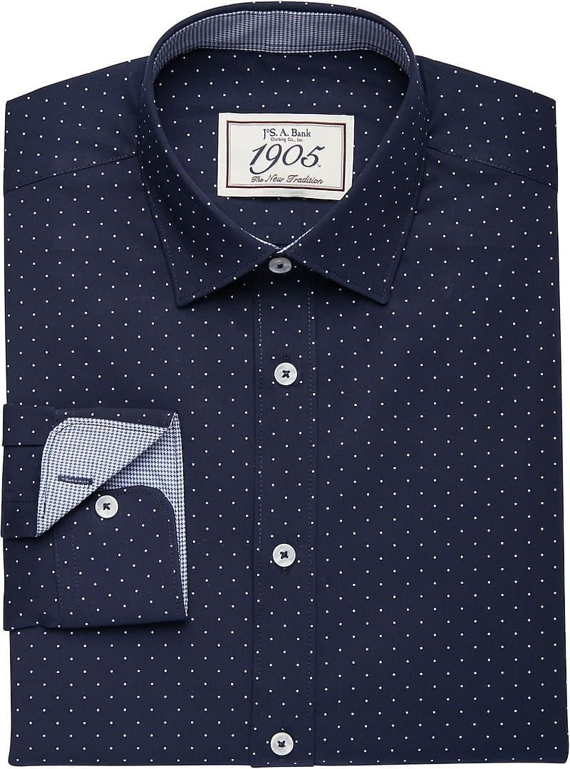 1905 Collection Spread Collar Dots Dress Shirt