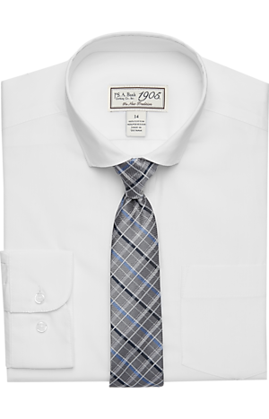 Men's Shirts, 1905 Collection Boys Classic Fit Check Dress Shirt & Tie Set - Jos A Bank