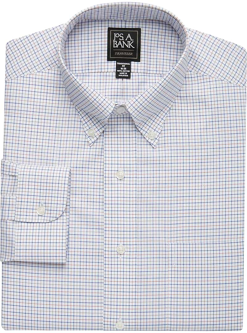 Traveler Collection Traditional Fit Button-Down Collar Grid Dress Shirt