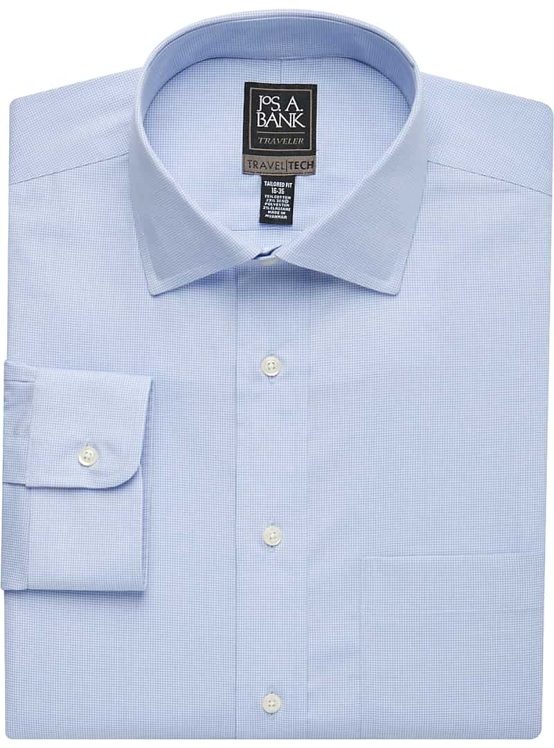 Travel Tech Tailored Fit Spread Collar Micro Check Dress Shirt