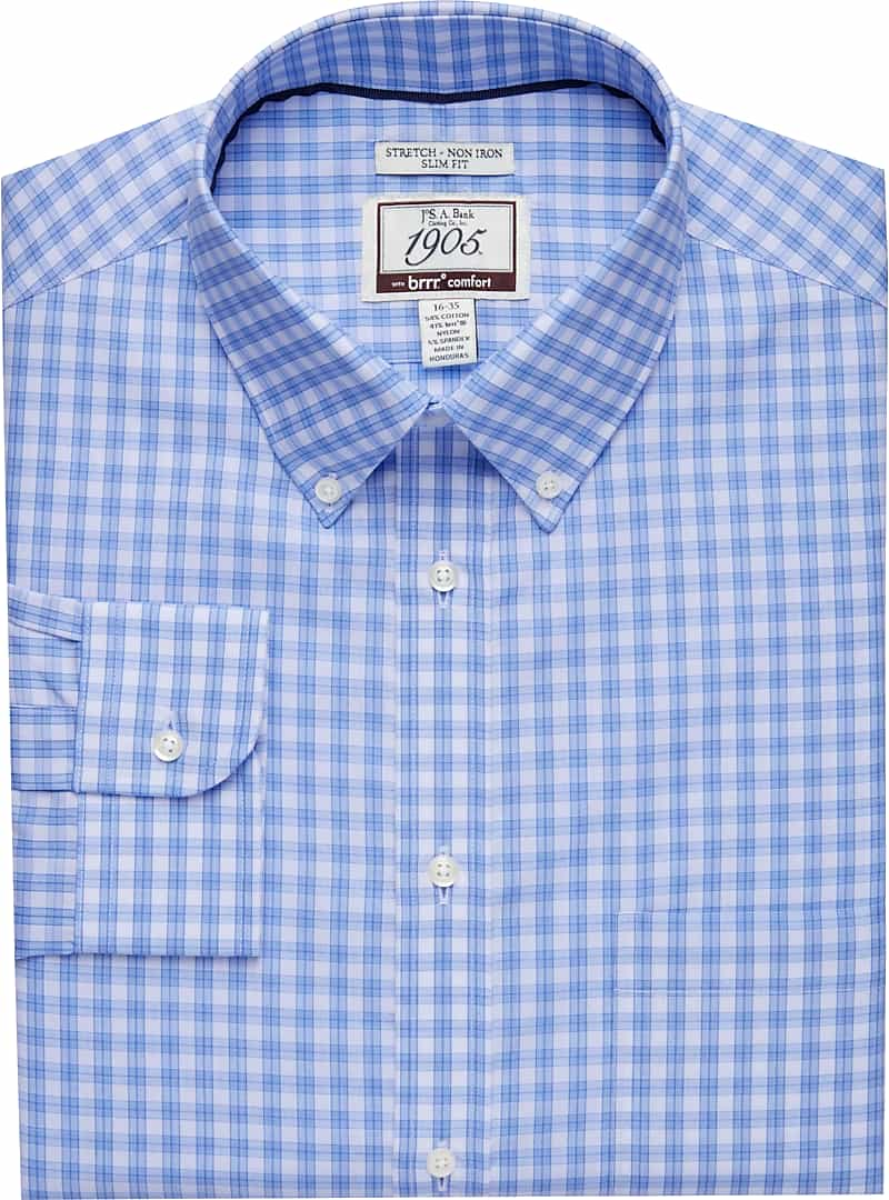 1905 Collection Slim Fit Button-Down Collar Plaid Dress Shirt with brrr°? comfort