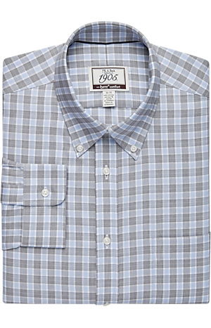 Men's Shirts, 1905 Collection Tailored Fit Button-Down Collar Check Dress Shirt - Jos A Bank