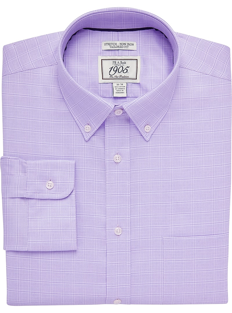 1905 Collection Tailored Fit Button-Down Collar Glen Plaid Dress Shirt