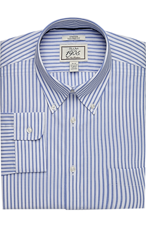 Men's Shirts, 1905 Collection Tailored Fit Button-Down Collar Stripe Dress Shirt - Jos A Bank