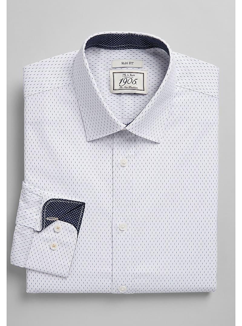 1905 Collection Slim Fit Spread Collar Dash Print Dress Shirt