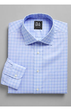 Men's Shirts, Traveler Collection Tailored Fit Spread Collar Charleston Check Dress Shirt - Jos A Bank