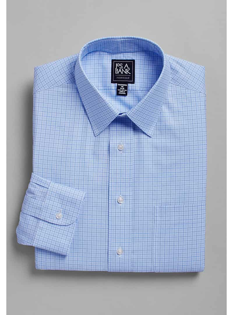 Traveler Collection Traditional Fit Point Collar Plaid Dress Shirt