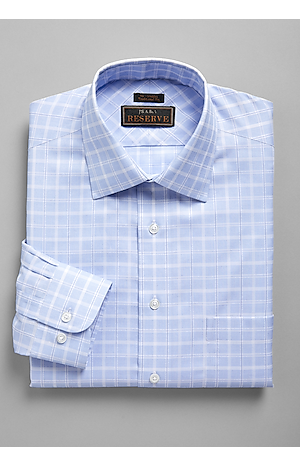 Men's Shirts, Reserve Collection Traditional Fit Satin Grid Dress Shirt - Jos A Bank