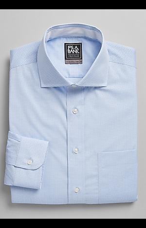 Men's Shirts, Travel Tech Slim Fit Cutaway Collar Woven Check Dress Shirt - Jos A Bank