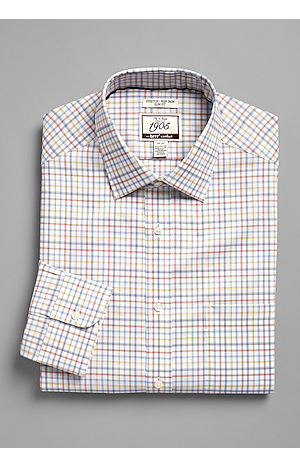 Men's Shirts, 1905 Collection Slim Fit Point Collar Check Dress Shirt with brrr°? comfort - Jos A Bank