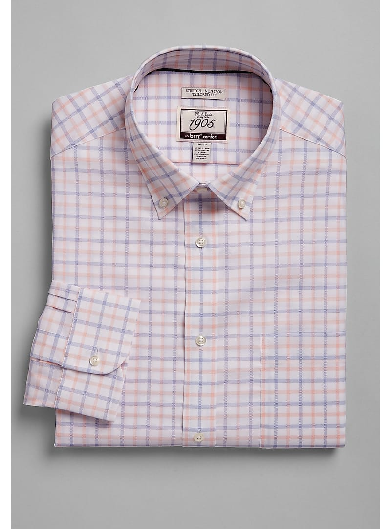 1905 Collection Tailored Fit Button-Down Collar Grid Dress Shirt with brrr°? Comfort