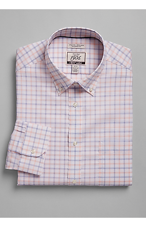 Men's Shirts, 1905 Collection Tailored Fit Button-Down Collar Grid Dress Shirt with brrr°? Comfort - Jos A Bank