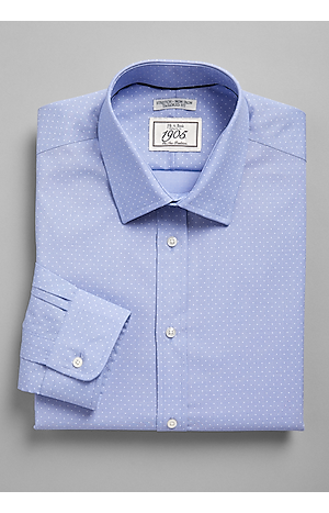 Men's Shirts, 1905 Collection Tailored Fit Spread Collar Dot Dress Shirt - Jos A Bank