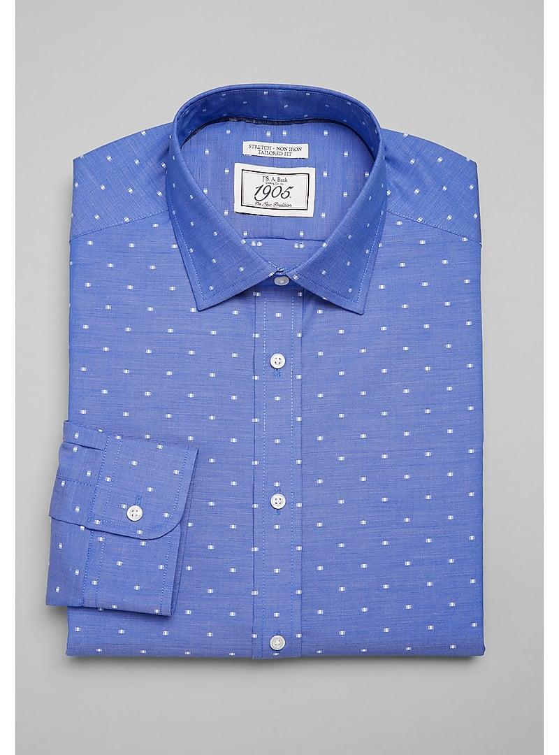 1905 Collection Tailored Fit Spread Collar Dot Dress Shirt (Dark Blue - 72)