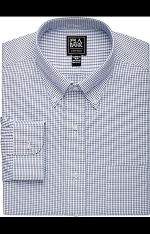 Men's Shirts, Traveler Collection Tailored Fit Button-Down Collar Grid Dress Shirt - Jos A Bank
