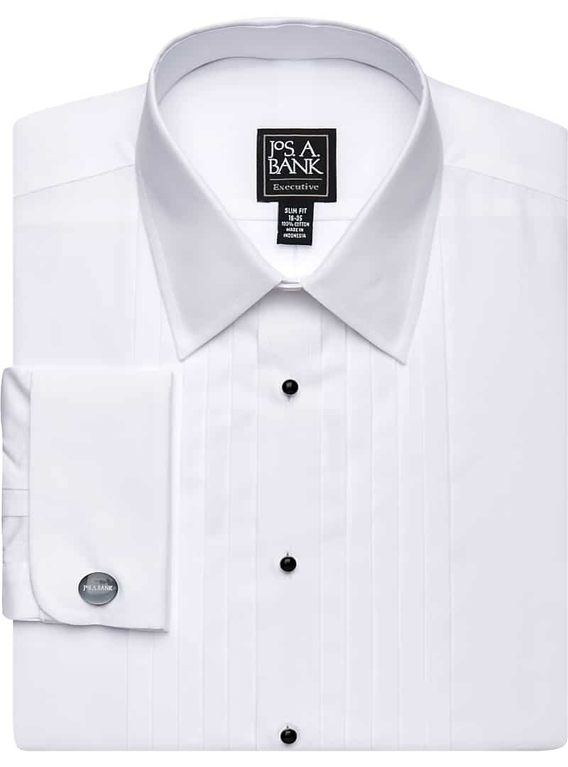 Executive Collection Slim Fit Point Collar French Cuff Formal Dress Shirt