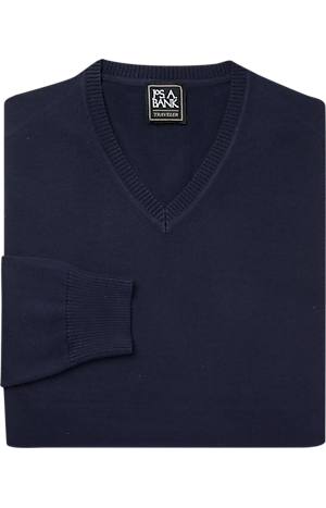 Men's Sweaters, Traveler Collection Pima Cotton V-Neck Sweater - Jos A Bank