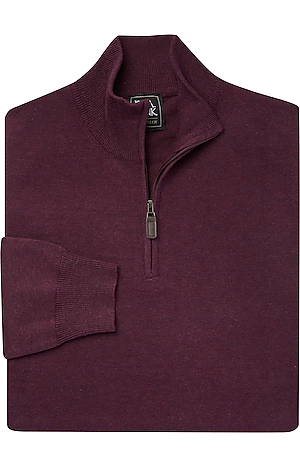Men's Sale, Traveler Collection Mock Neck Cotton Quarter-Zip Sweater - Jos A Bank
