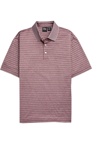 Men's Shirts, Traveler Performance Traditional Fit Short Sleeve Stripe Polo - Jos A Bank