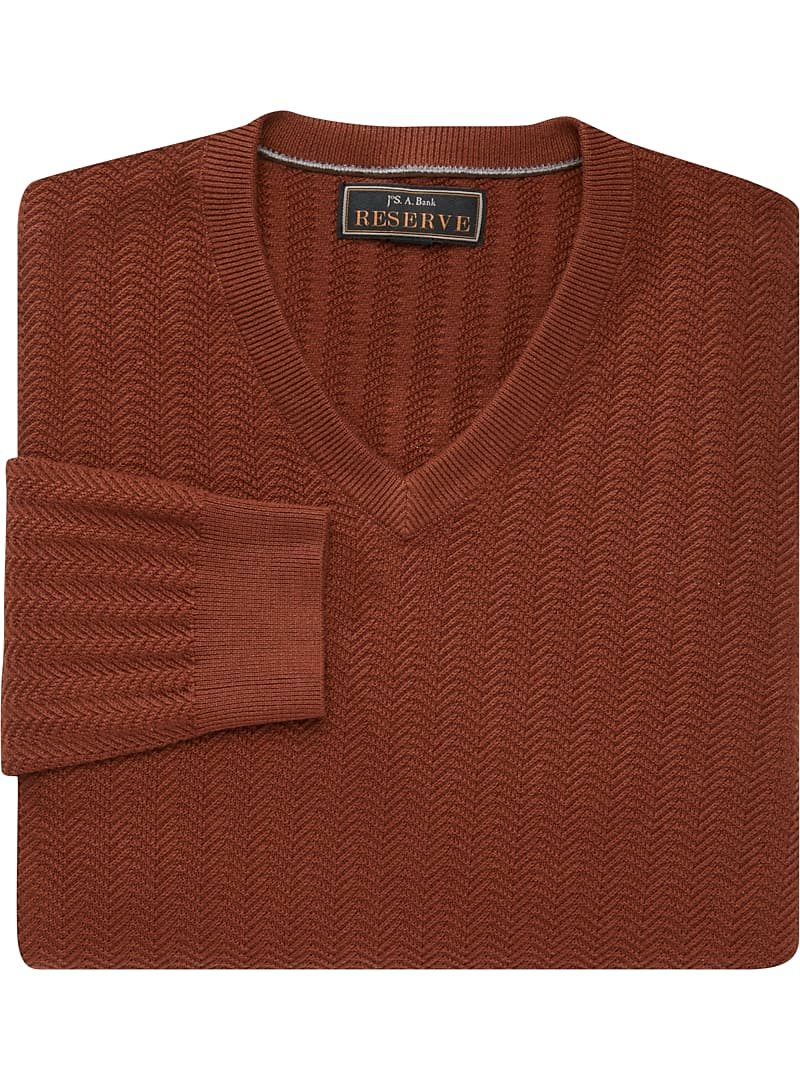 Reserve Collection Cotton & Silk Herringbone V-Neck Sweater CLEARANCE