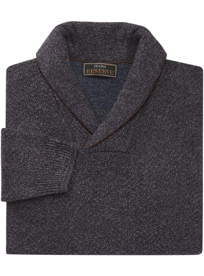 Reserve Collection Wool Blend Shawl Collar Herringbone Sweater - Big & Tall CLEARANCE