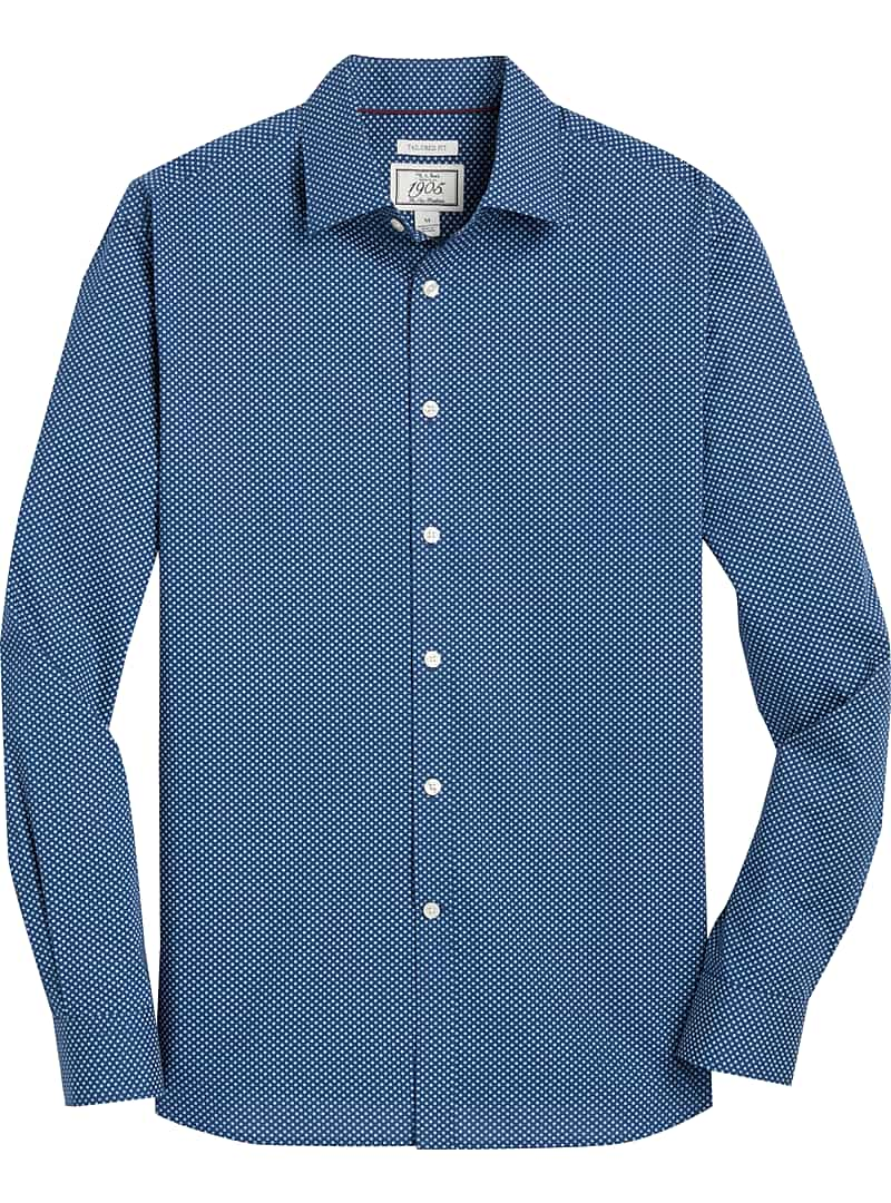 1905 Collection Tailored Fit Print Pattern Sportshirt (Navy-75)