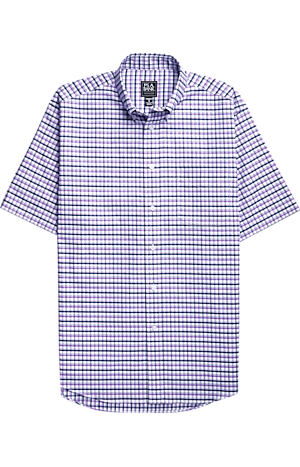 Men's Sale, Traveler Collection Traditional Fit Button-Down Collar Plaid Short-Sleeve Sportshirt - Big & Tall - Jos A Bank