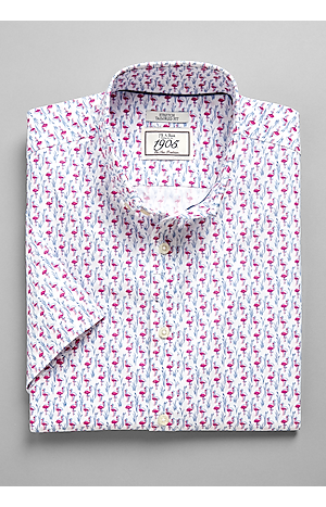 Men's Shirts, 1905 Collection Tailored Fit Short Sleeve Button Down Collar Flamingo Sportshirt - Jos A Bank