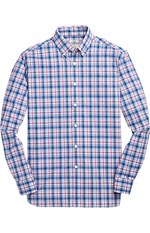 Men's Shirts, 1905 Collection Tailored Fit Button Down Collar Plaid Sportshirt with brrr°? comfort - Jos A Bank