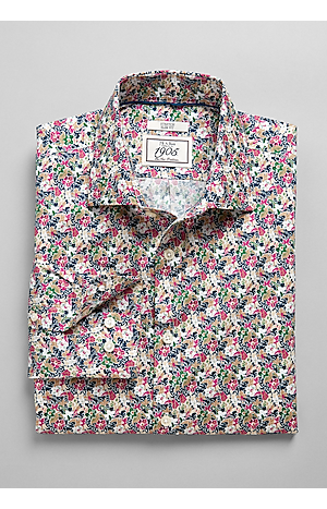 Men's Shirts, 1905 Collection Tailored Fit Spread Collar Floral Sportshirt - Jos A Bank